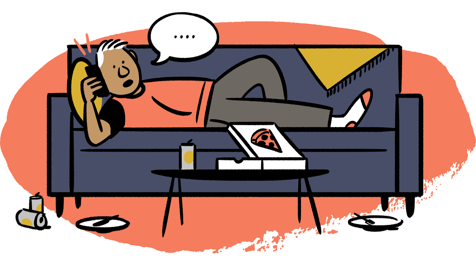 Man on couch, talking on phone