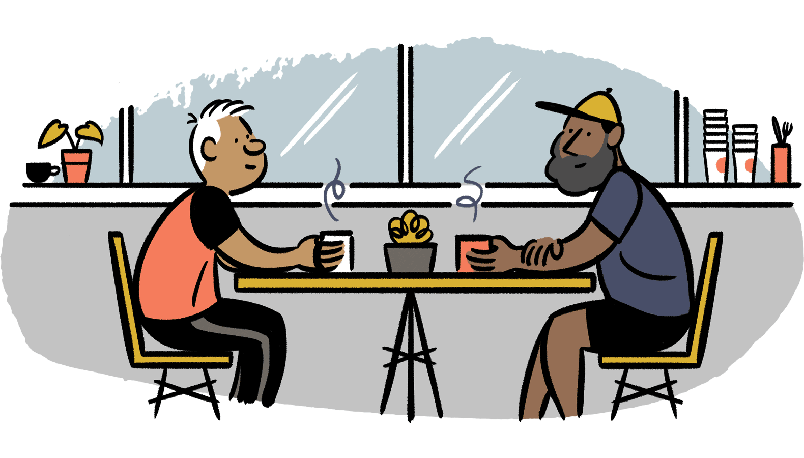 Two men chatting at a cafe.